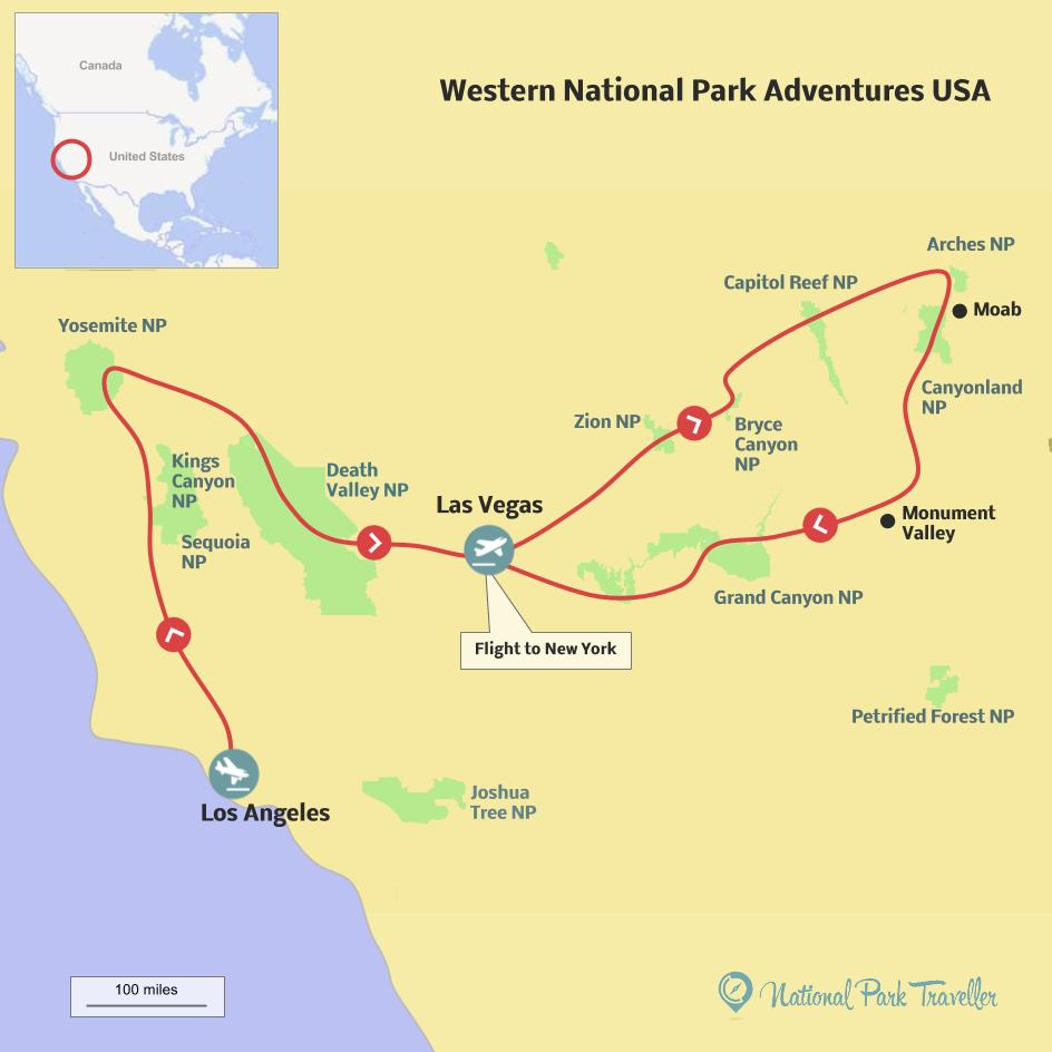 Western Adventures in USA National Parks Map